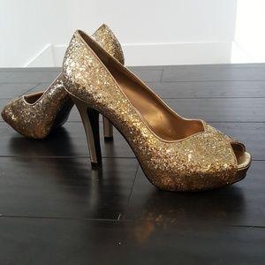 Nine West Gold Sparkly Peep Toe Stiletto Heel Pump